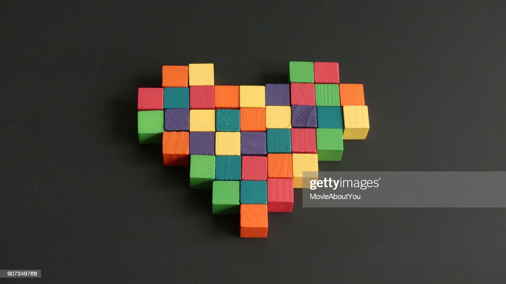 Heart mosaic wooden cubes : Stock Photo