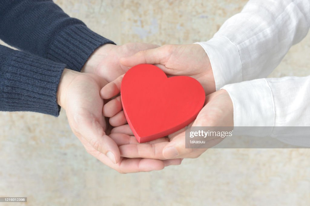 Heart object covered by male and female hands : Stock Photo
