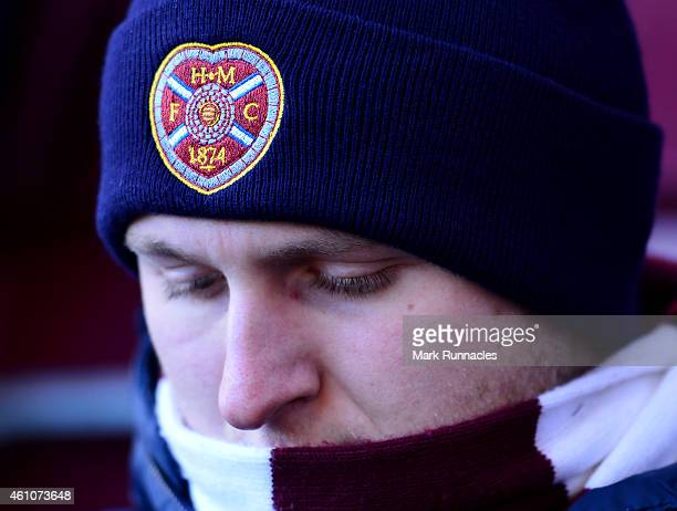 Heart of Midlothian fans look on before the Scottish Championship match between Heart of Midlothian FC and Hibernian FC at Tynecastle Stadium on...