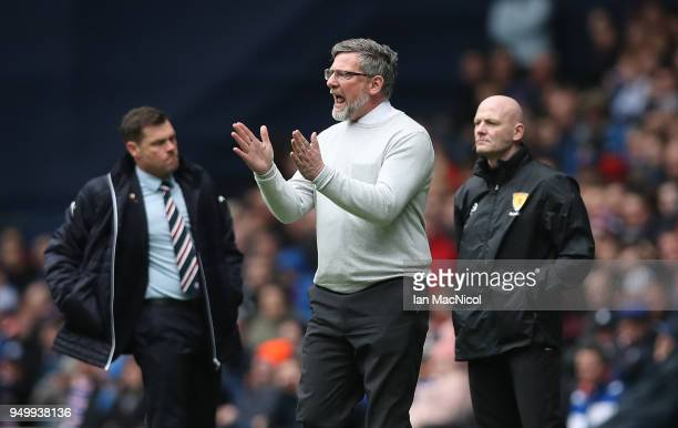 Heart of Midlothian manager Craig Levein is seen during the Ladbrokes Scottish Premiership match between Rangers and Hearts at Ibrox Stadium on April...
