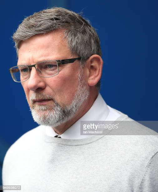Heart of Midlothian manager Craig Levein looks on during the Ladbrokes Scottish Premiership match between Rangers and Hearts at Ibrox Stadium on...