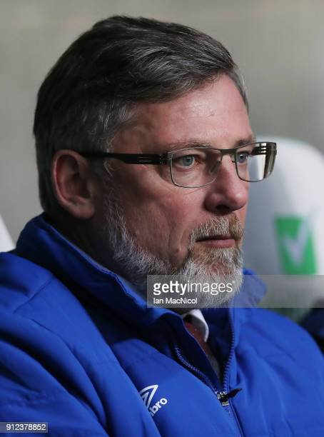 Heart of Midlothian manager Craig Levein looks on during the Scottish Premier League match between Celtic and Heart of Midlothian at Celtic Park on...