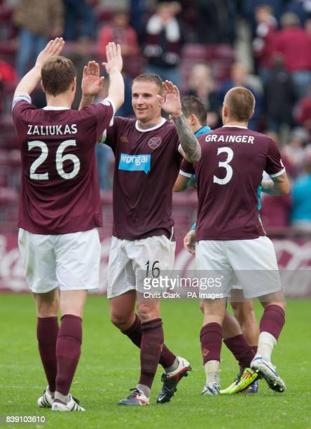 Heart of Midlothian's Marius Zaliukas and Ryan Stevenson celebrate after during the Clydesdale Bank Scottish Premier League match at Tynecastle...