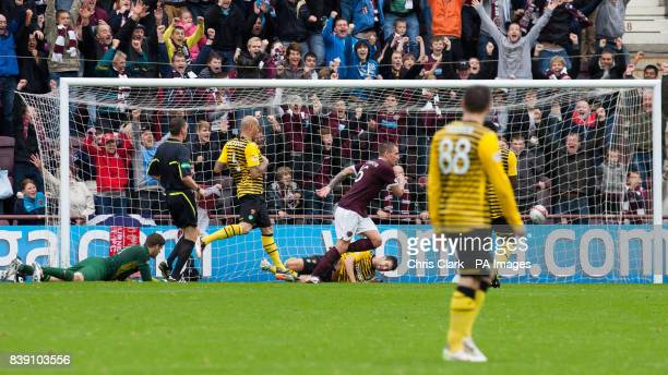 Heart of Midlothian's Ryan Stevenson celebrates scoring his side second goal during the Clydesdale Bank Scottish Premier League match at Tynecastle...
