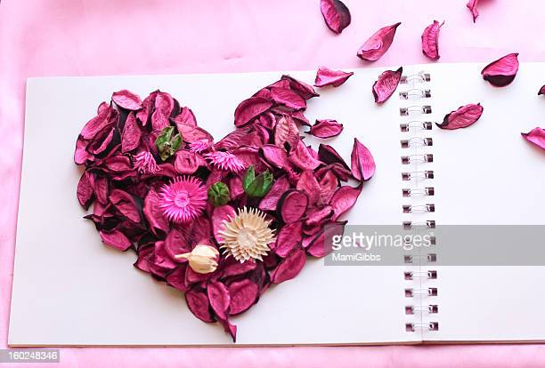 Heart of objects made with pink potpourri