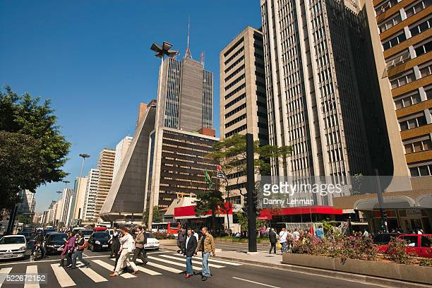 heart of sao paulo's financial and cultural district, paulista avenue or avenida paulista, brazil - サンパウロ ストックフォトと画像
