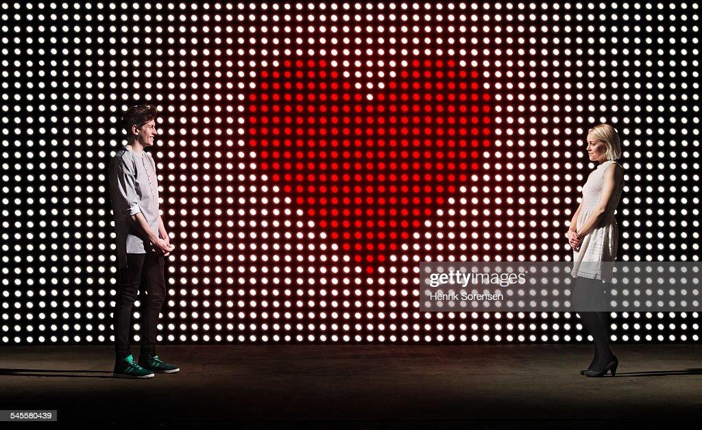 heart on lightwall : Stock Photo
