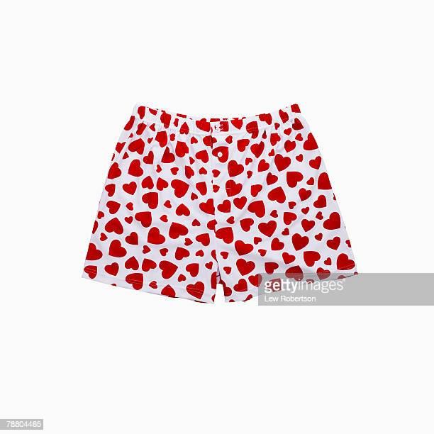 heart print boxers - boxershort stock pictures, royalty-free photos & images