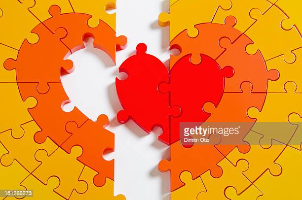 Heart puzzle, in half, with whole centre