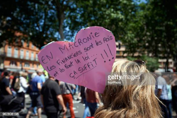 A heart reads 'In Macrony Financiers are kings and they make the law Enough ' A quotmaree populairequot demonstration was called by more than 60...