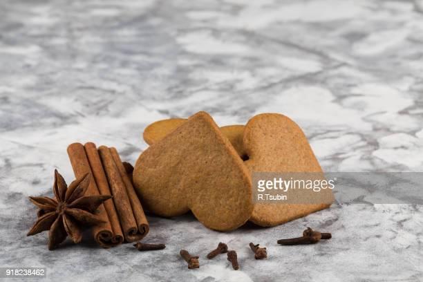 Heart shape christmas gingerbread cookies