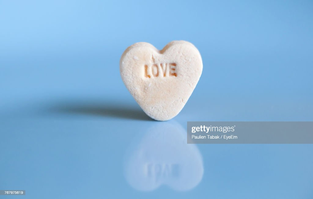 Heart Shape Cookie On Blue Background : Stock Photo