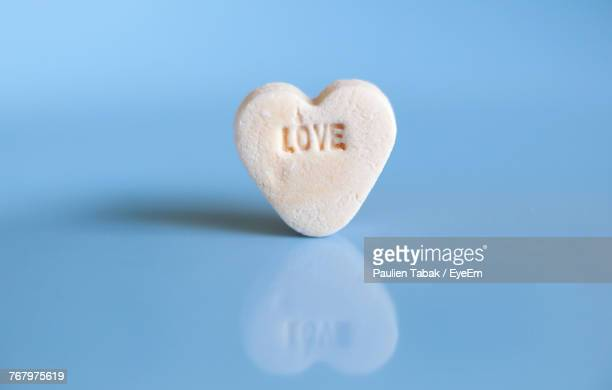 Heart Shape Cookie On Blue Background