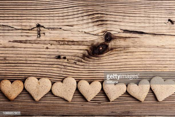 Heart shape cookies on rural wooden table