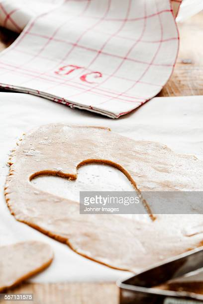Heart shape cut in pastry
