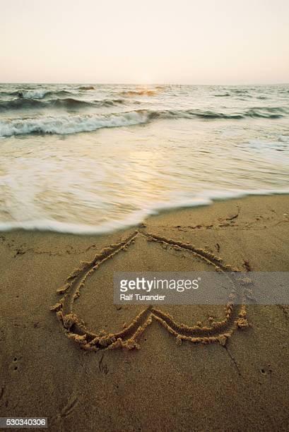 Heart shape drawn in sand at beach
