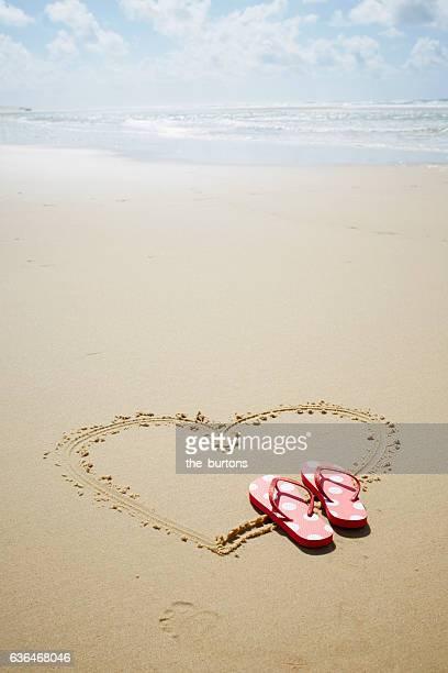 heart shape drawn in the sand on an empty beach