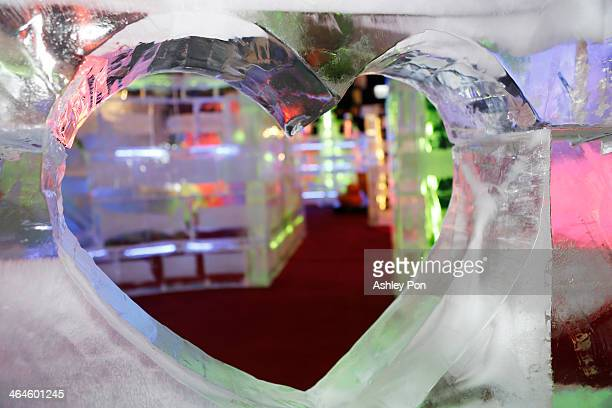 """Heart shape ice sculpture displayed at """"Fantasy Ice World"""" on January 23, 2014 in Taipei, Taiwan. Ice sculptors from the famous Harbin Ice Festival..."""