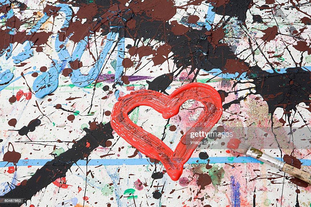Heart shape in paint : Stock Photo