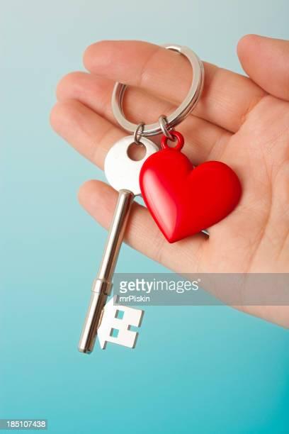 Heart shape keyring with house shaped key