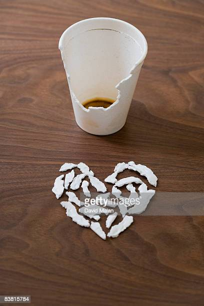 heart shape made from chewed bits of coffee cup