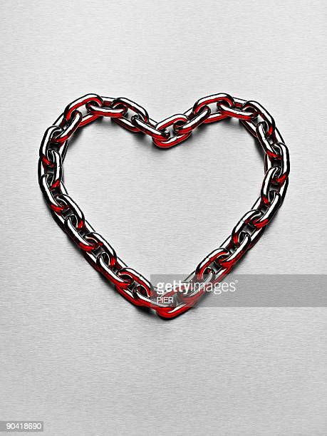Heart shape made from steel chain