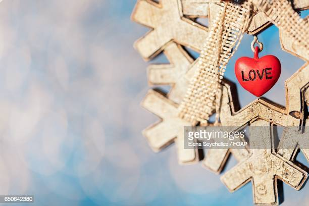 Heart shape on christmas decoration