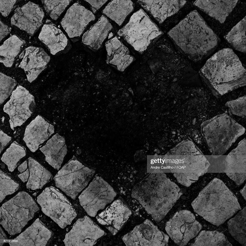 Heart shape on pavement : Stock Photo