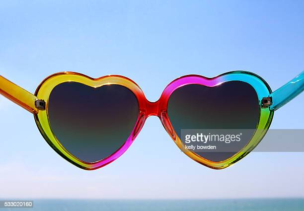 heart shape sunglasses in sunshine