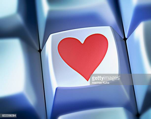 Heart shape symbol on computer key