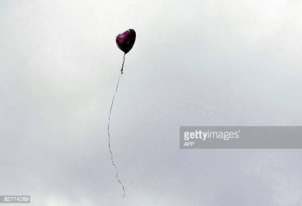 A heart shaped balloon is released during the 7th annual 9/11 commemoration ceremony held at Zuccotti Park in New York City on September 11 2008 The...