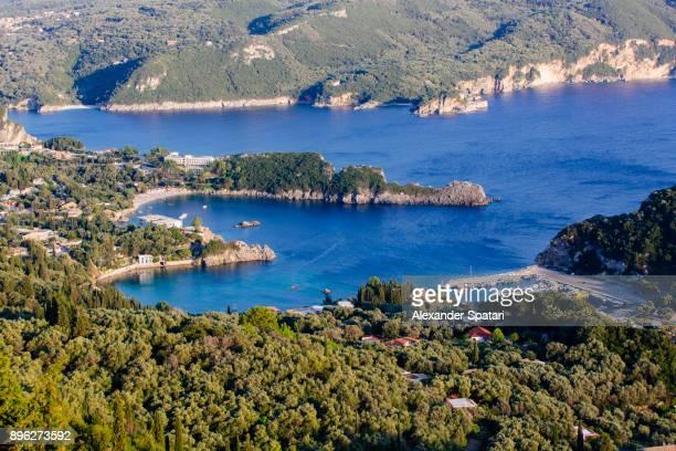 Heart shaped bay of water in Paleokastritsa, Corfu island, Greece