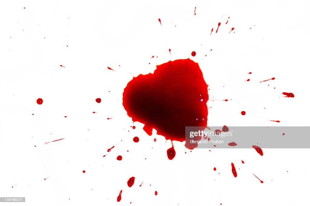 Heart shaped blood spatter : Stock Photo