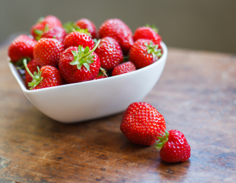 Heart shaped bowl of strawberries - gettyimageskorea