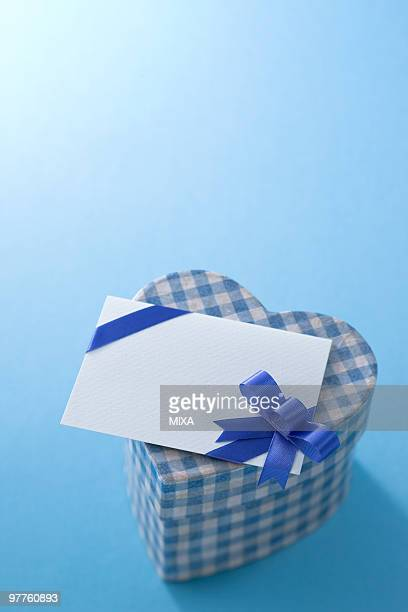 Heart shaped box and message card
