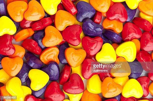 Heart shaped candies background