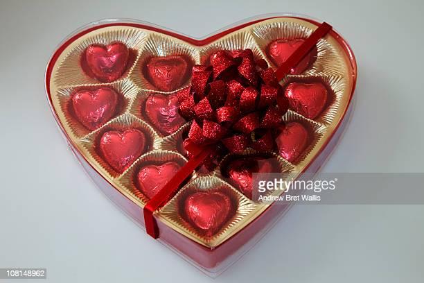 Heart shaped chocolates in a heart shaped box