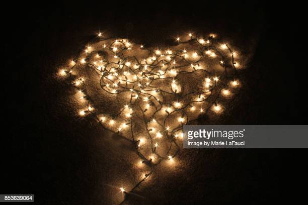 Heart shaped Christmas Lights lit up in the dark