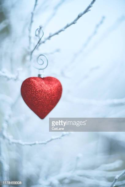 heart shaped christmas ornaments on snowy branches - valentine's day holiday stock pictures, royalty-free photos & images