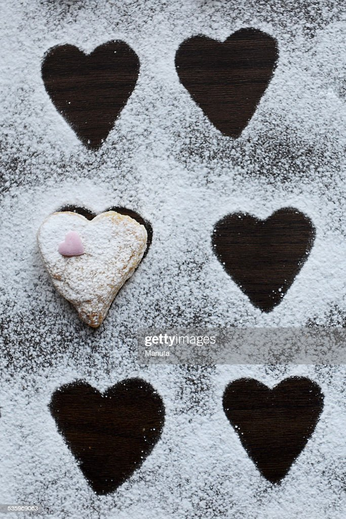 Heart Shaped Cookie covered with Icing : Stock Photo