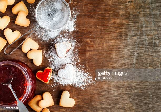 Heart shaped cookies for valentine's day top view copy space