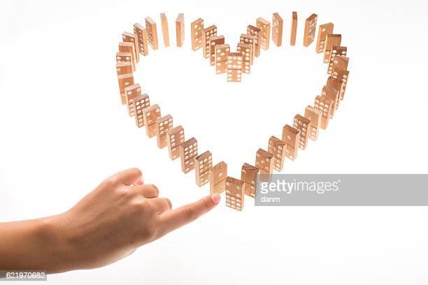 Heart Shaped Domino Rally Falling