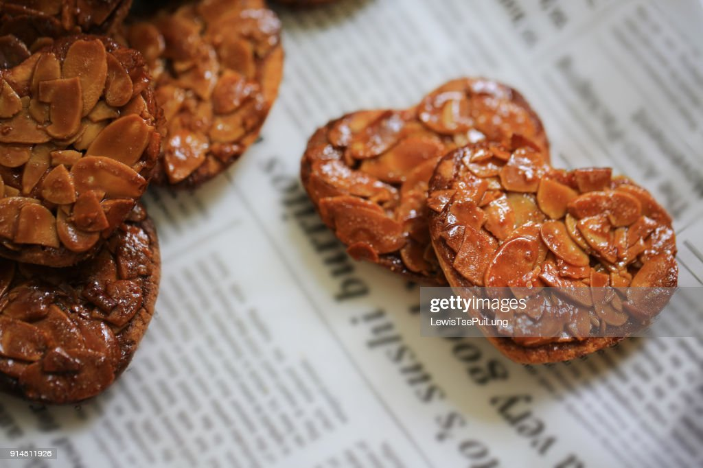heart shaped florentine biscuit : Stock Photo