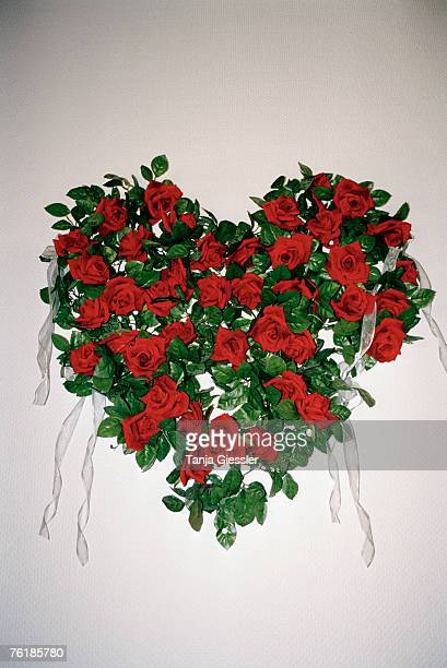 A heart shaped flower arrangement