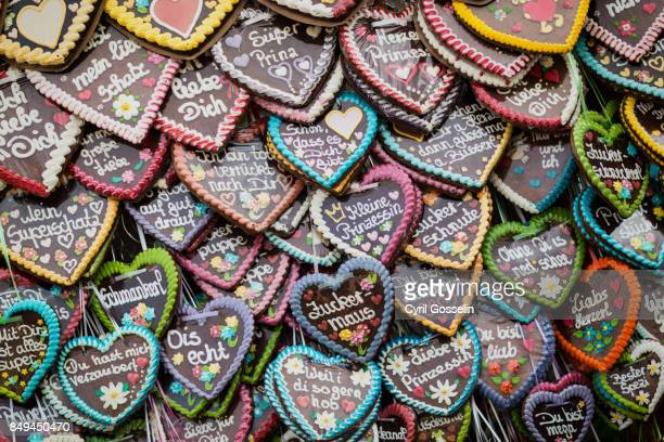Heart shaped german lebkuchen candies