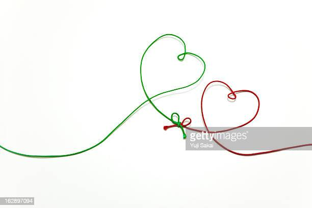 heart shaped green & red string