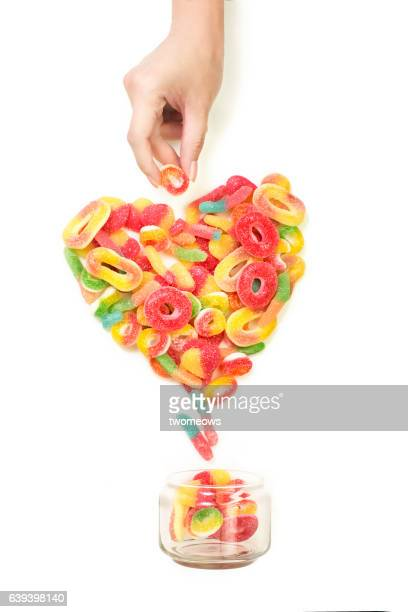 Heart shaped gummy candy still life.