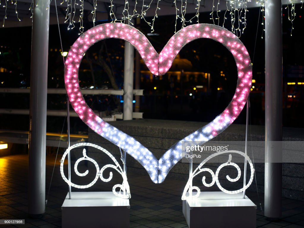 Heart shaped illumination photo spot in Yokohama Minato Mirai : Stock Photo