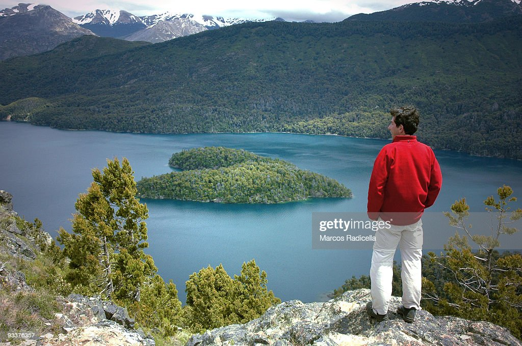 Heart shaped island in Patagonia : Stock Photo