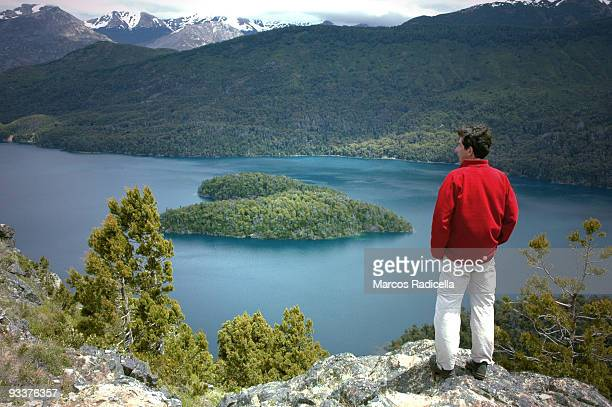 heart shaped island in patagonia - radicella stock pictures, royalty-free photos & images